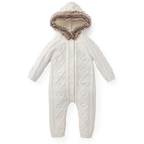 Hope & Henry Layette Faux Fur Trimmed Ivory Cable One Piece