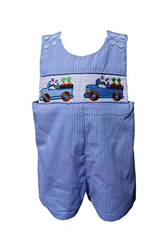Dana Kids Boys Easter Bunny Truck Smocked Shortall (12M)