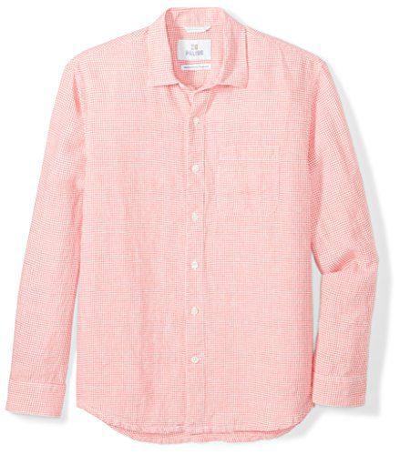 28 Palms Men's Relaxed-Fit Long-Sleeve 100% Linen Check Shirt