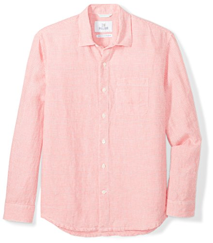 28 Palms Men's Relaxed-Fit Long-Sleeve 100% Linen Check Shirt