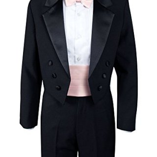 Spring Notion Boys' Black Classic Tuxedo with Tail Blush Pink