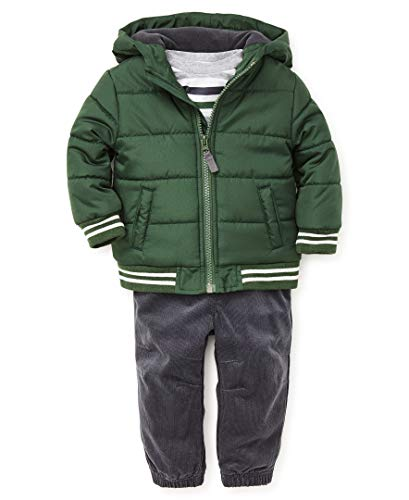 Little Me Baby Boy's Jacket Set Outerwear, deepest green/ebony