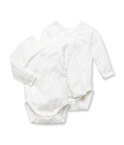 Petit Bateau Unisex Baby 2 Pack Plain Long Sleeve Crossover Onsie