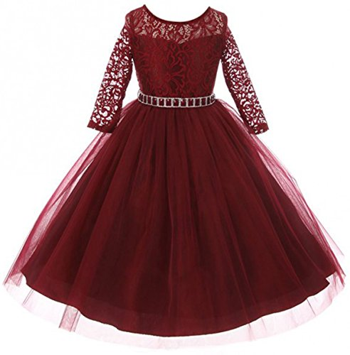 Big Girls' Dress Lace Top Rhinestones Tulle Holiday Christmas Party