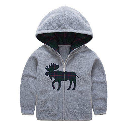 HUAER& Baby Boys' Fleece Cartoon Animal Zip Front Jacket