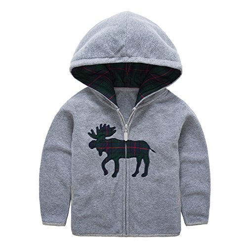 HUAER& Baby Boys' Fleece Cartoon Animal Zip Front Jacket