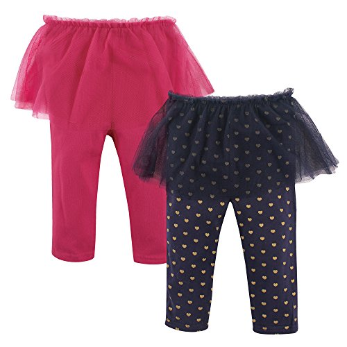 Hudson Baby Baby Girls' Tutu Leggings, 2 Pack, Dark Pink/Navy Hearts