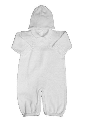 Boy's White Cotton Knit Christening Baptism Longall