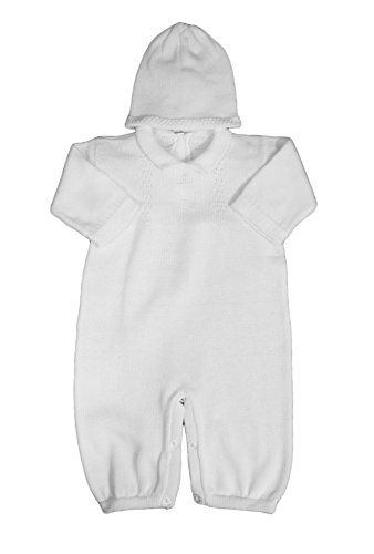 Boy's White Cotton Knit Christening Baptism Longall
