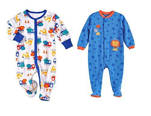 LJ Baby-boys Footed Pajama Sleeper 2 Pack 0-3 Months