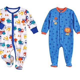 LJ Baby-boys Footed Pajama Sleeper 2 Pack 0-3 Months