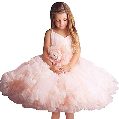 Pink Flower Girl Dresses V-Neck Long Tulle Puffy Ball