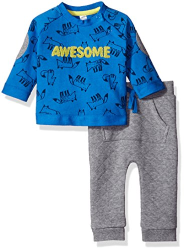 Petit Lem Baby Boys'' Fox Print Top and Quilted Pant Set