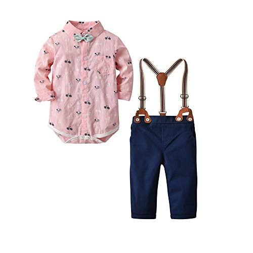 Newborn Baby Boys Romper Jumpsuit Outfits Suits+Long Sleeve Shirt