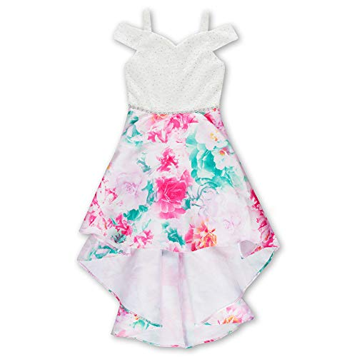 Speechless Girls' Big Shoulder Party Dress with High-Low Skirt