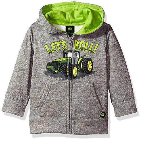 John Deere Baby Boys' Fleece Zip Poly Hoody, Grey 4T