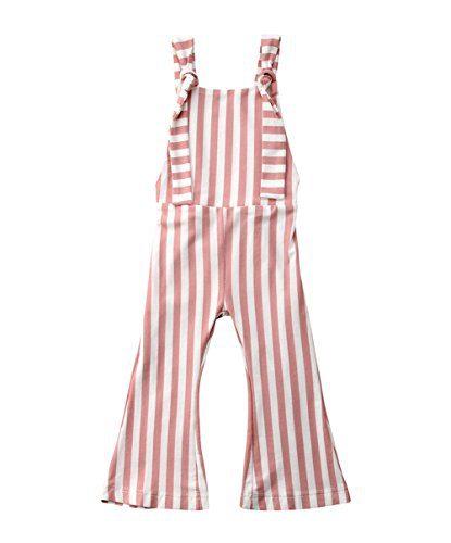 Toddler Kids Baby Girl Stripes Bell-Bottom Jumpsuit Romper Overalls Pants