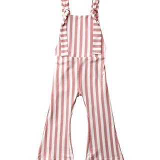 Toddler Kids Baby Girl Stripes Bell-Bottom Jumpsuit Romper Overalls Pants