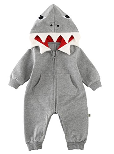 Baby Boys Girls 3D Cartoon Shark Hooded Romper Jumpsuit