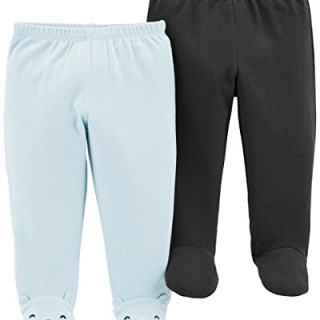 Carter's Baby Boys 2 Pack Pants, Grey/Light Blue Footie