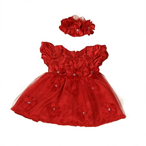 WuyiMC Clearance Baby Girls Red Lace Princess Headband Dresses