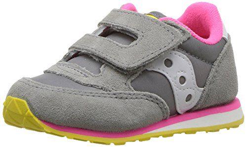Saucony Girls' Baby Jazz HL Sneaker, Grey Pnk, 4.5 Wide US Toddler