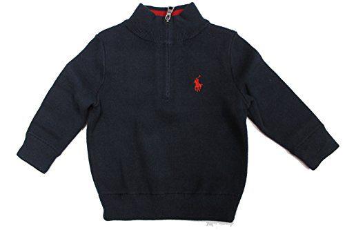RALPH LAUREN Baby Boy Cotton Half-Zip Sweater 6M Hunter Navy