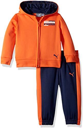 PUMA Baby Boys' Fleece Zip Up Hoodie Set, fire Cracker 12M