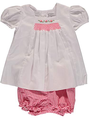 Carriage Boutique Baby Girl White and Pink Shirt/Bloomer Set