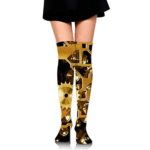 Kyliel Over the Knee Thigh High Socks,Clock Gear Print High Boot