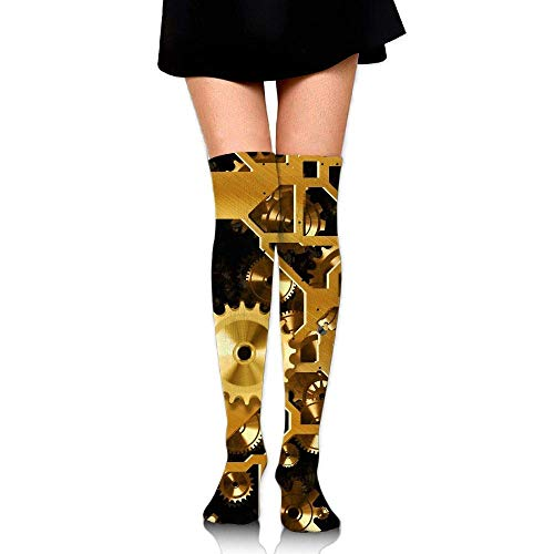 Kyliel Over the Knee Thigh High Socks,Clock Gear Print High Boot
