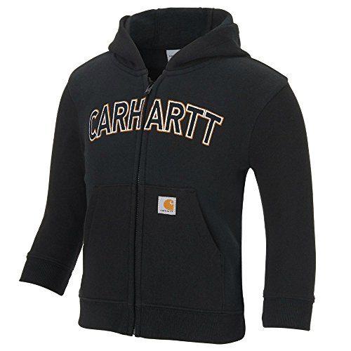 Carhartt Boys' Logo Fleece Zip Sweatshirt, Black, 12 Months