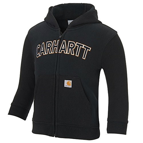 Carhartt Boys' Logo Fleece Zip Sweatshirt, Black, 12 Months