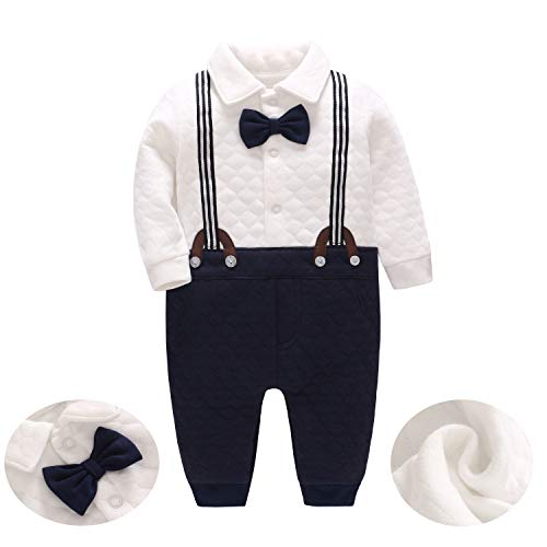 JooNeng Baby Boys Thicken Gentleman Long Sleeve Romper Newborn Tuxedo
