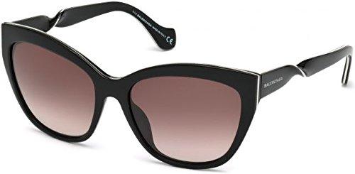 Balenciaga Women's Shiny Black Silver Sunglasses