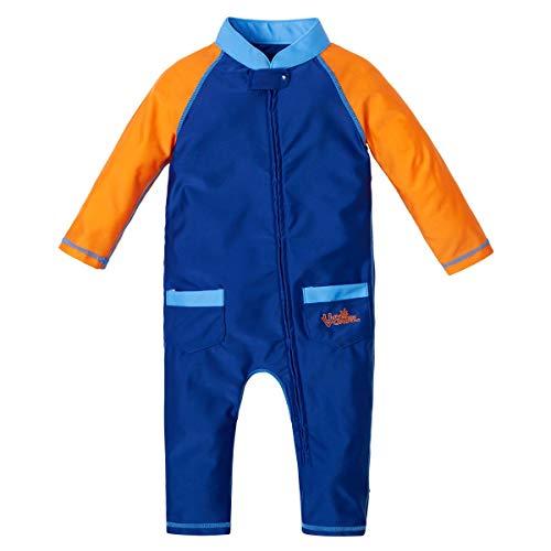 UV SKINZ UPF50+ Baby Boy Sun & Swim Suit-Navy Blue/Orange-3/6m