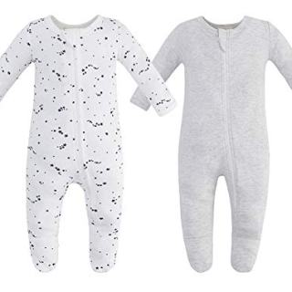 Owlivia Organic Cotton Baby Boy Girl 2 Pack Zip Front Sleep