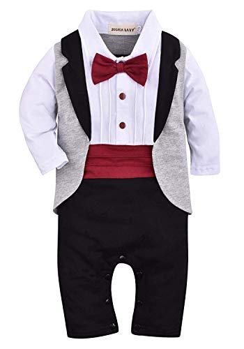 ZOEREA 1pcs Baby Boys Tuxedo Onesie Romper Jumpsuit Wedding Suit Black