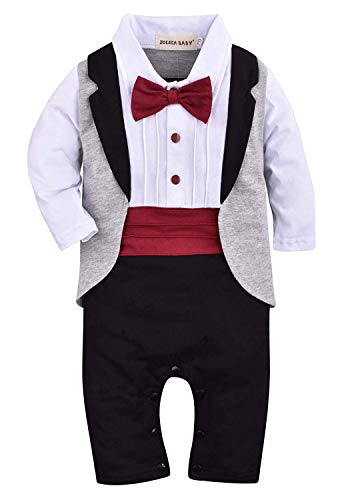 ZOEREA 1pcs Baby Boys Tuxedo Onesie Romper Jumpsuit Wedding Suit Black