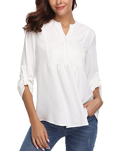 Abollria Women Roll up Sleeve Lace Patchwork Loose Casual Blouse Shirt