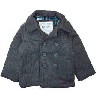 Carter's Baby Boys' Infant Faux Wool Pea Coat, Grey, 18M