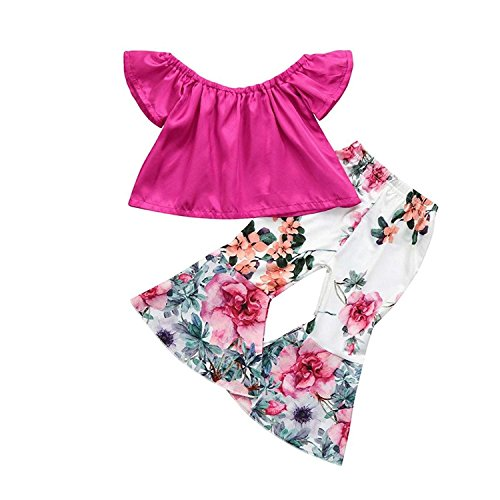 Toddler Baby Girls Off Shoulder Top + Floral Bell-Bottoms Pants Outfit