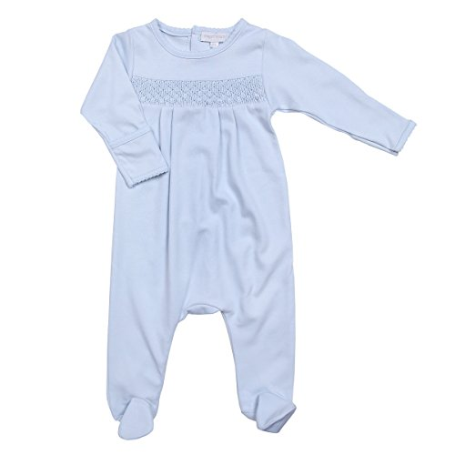 Magnolia Baby Baby Boy MB Essentials Smocked Footie Solid Blue Newborn