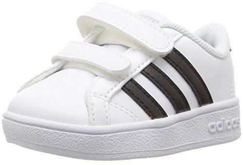 adidas Performance Baby Baseline Sneaker, White/Black/White