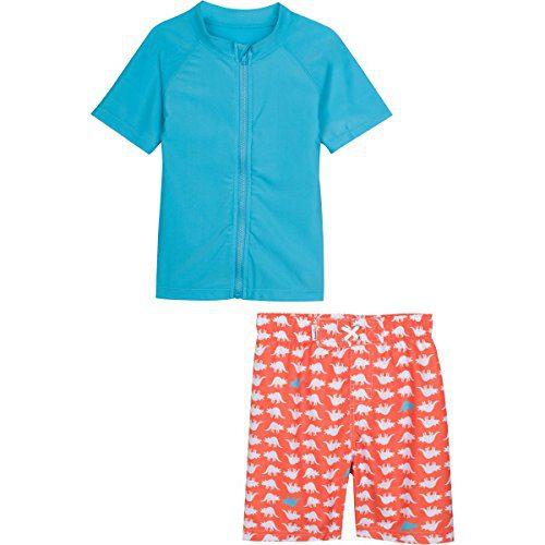 SwimZip Baby Boy Zipper Long Sleeve Rash Guard Swimsuit Set