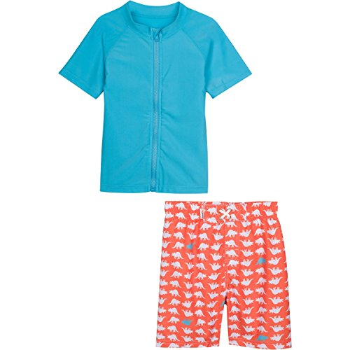 SwimZip Baby Boy Zipper Long Sleeve Rash Guard Swimsuit Set