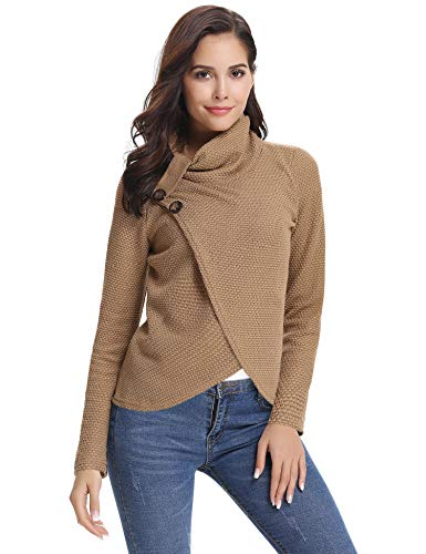 Abollria Womens Sweaters Asymmetric Hem Wrap Sweater