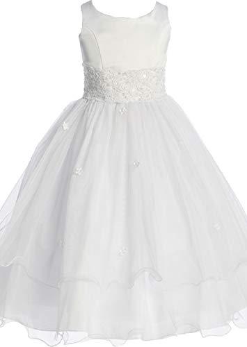 Flower Girl Dress First Communion Sleeveless Embroidery Tulle Dress