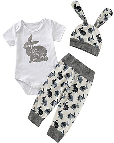 Shalofer Baby Boys Infant My First Easter Bunny Print Bodysuit