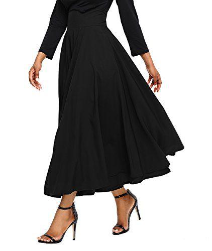 Asvivid Women's Solid High Waisted Full Midi Skirt Pocket